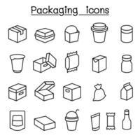 ícone de pacote definido em estilo de linha fina
