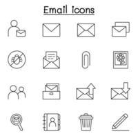 ícone de e-mail definido em estilo de linha fina vetor