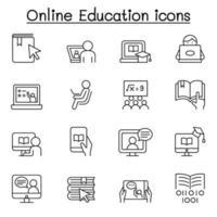 ícone de educação online definido em estilo de linha fina