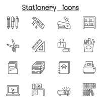 ícone de papelaria definido em estilo de linha fina vetor