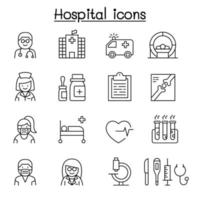 ícone de hospital definido em estilo de linha fina