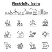 ícones de eletricidade definidos em estilo de linha fina