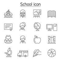 ícone de escola e educação em estilo de linha fina vetor