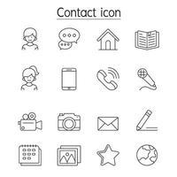 ícone de contato definido em estilo de linha fina vetor