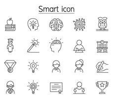 ícone inteligente, gênio, inteligência definido em estilo de linha fina vetor