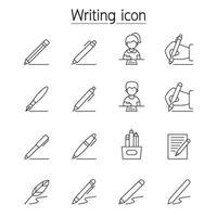 ícone de escrita definido em estilo de linha fina vetor