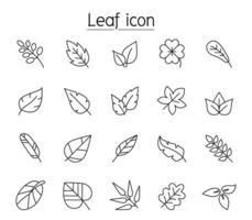 ícone de folha definido em estilo de linha fina