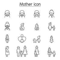 ícone da mãe definido em estilo de linha fina vetor