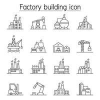 ícone de construção de fábrica definido em estilo de linha fina