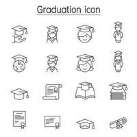 ícone de graduação definido em estilo de linha fina vetor