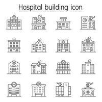 edifício de hospital, ícone de centro médico definido em estilo de linha fina