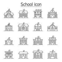 ícone de escola definido em estilo de linha fina vetor