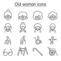 mulher idosa, mulher idosa, ícone de avó definido em estilo de linha fina vetor