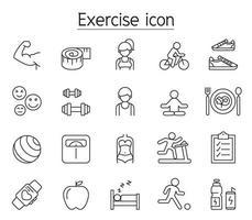 ícone de exercício definido em estilo de linha fina vetor
