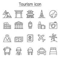 ícone de turismo e marco definido em estilo de linha fina vetor