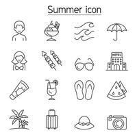 ícone de verão definido em estilo de linha fina vetor