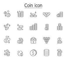 ícone de moeda definido em estilo de linha fina vetor