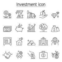 ícone de investimento e bancário definido em estilo de linha fina vetor