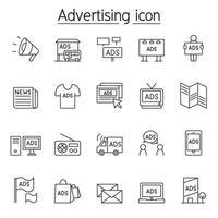 publicidade, ícone de marketing definido em estilo de linha fina