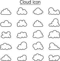 ícone de nuvem definido em estilo de linha fina vetor