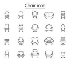 ícone de vista frontal da cadeira definido em estilo de linha fina vetor