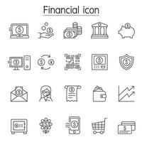 Ícone financeiro e bancário definido em estilo de linha fina