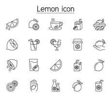 ícone de limão definido em estilo de linha fina vetor