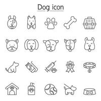 ícone de cachorro definido em estilo de linha fina vetor