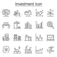 ícone de investimento definido em estilo de linha fina vetor