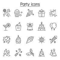 ícones de festa em estilo de linha fina