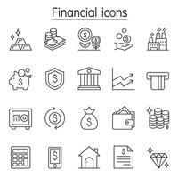 ícone financeiro e bancário definido em estilo de linha fina vetor