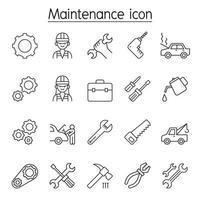 ícone de manutenção e fixação definido em estilo de linha fina vetor