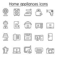 Ícones de eletrodomésticos definidos em estilo de linha fina
