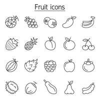 ícone de fruta definido em estilo de linha fina vetor
