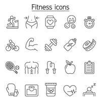 ícone de fitness definido em estilo de linha fina vetor
