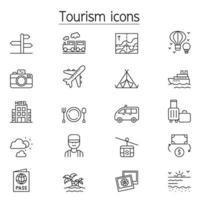 ícone de turismo definido em estilo de linha fina vetor