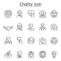 ícones de caridade e doação definidos em estilo de linha fina