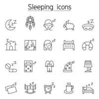 ícone de dormir definido em estilo de linha fina vetor