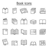 ícone de livro definido em estilo de linha fina vetor