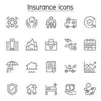 ícone de seguro definido em estilo de linha fina vetor