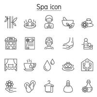 spa, ícone de aromaterapia definido em estilo de linha fina vetor
