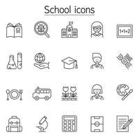 ícones escolares e educacionais em estilo de linha fina
