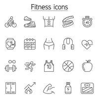 ícone de fitness e exercício definido em estilo de linha fina vetor