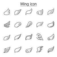 ícones de asa definidos em estilo de linha fina vetor