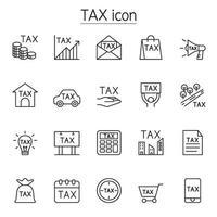 ícone de imposto definido em estilo de linha fina vetor