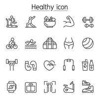 ícone de fitness e saúde definido em estilo de linha fina vetor