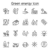 ícone de energia verde definido em estilo de linha fina