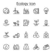ícone de ecologia definido em estilo de linha fina