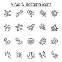 ícone de vírus e bactérias definido em estilo de linha fina vetor