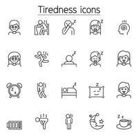 cansaço, ícones sonolentos definidos em estilo de linha fina